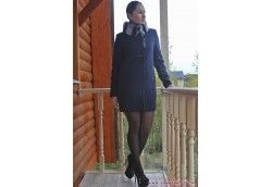 Зимнее пальто на утеплителе и с мехом Артикул 15-115 шиншилла синий
