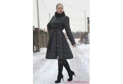 Стёганый пальто пуховик с юбкой чёрный
