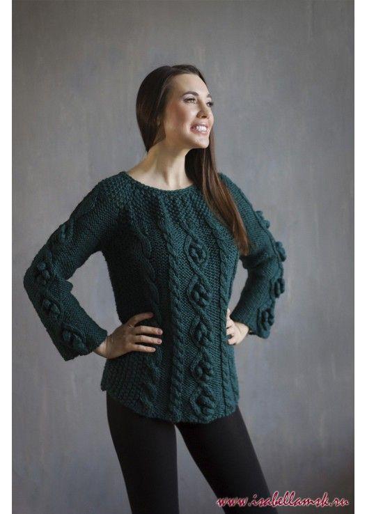 Изурудный вязаный свитер