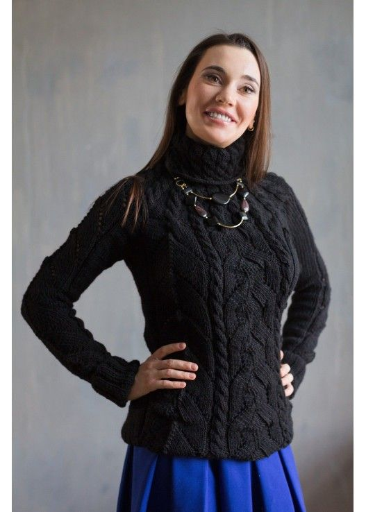 Вязаный черный свитер Марлен