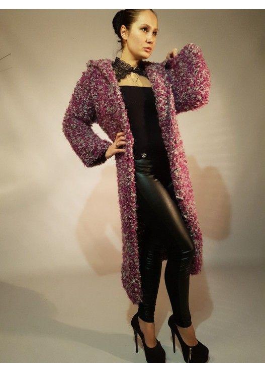 Вязаное длинное пальто букле