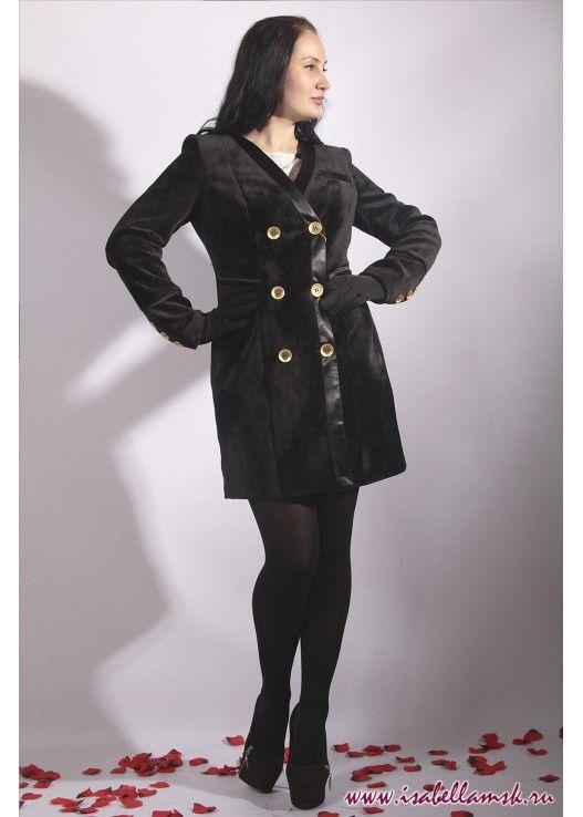 Пальто 17-261 черный бархат