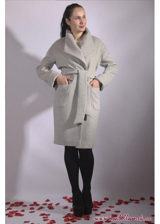 Пальто 17-154 серый апаж
