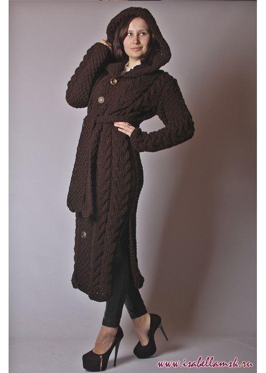 Длинное вязаное пальто шоколад
