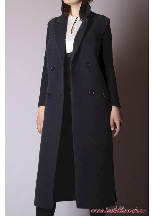 Женское пальто жилет синий