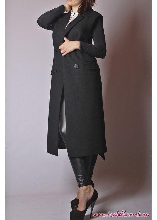 Женское пальто жилет черный