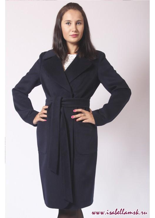 Синее классическое пальто до колена