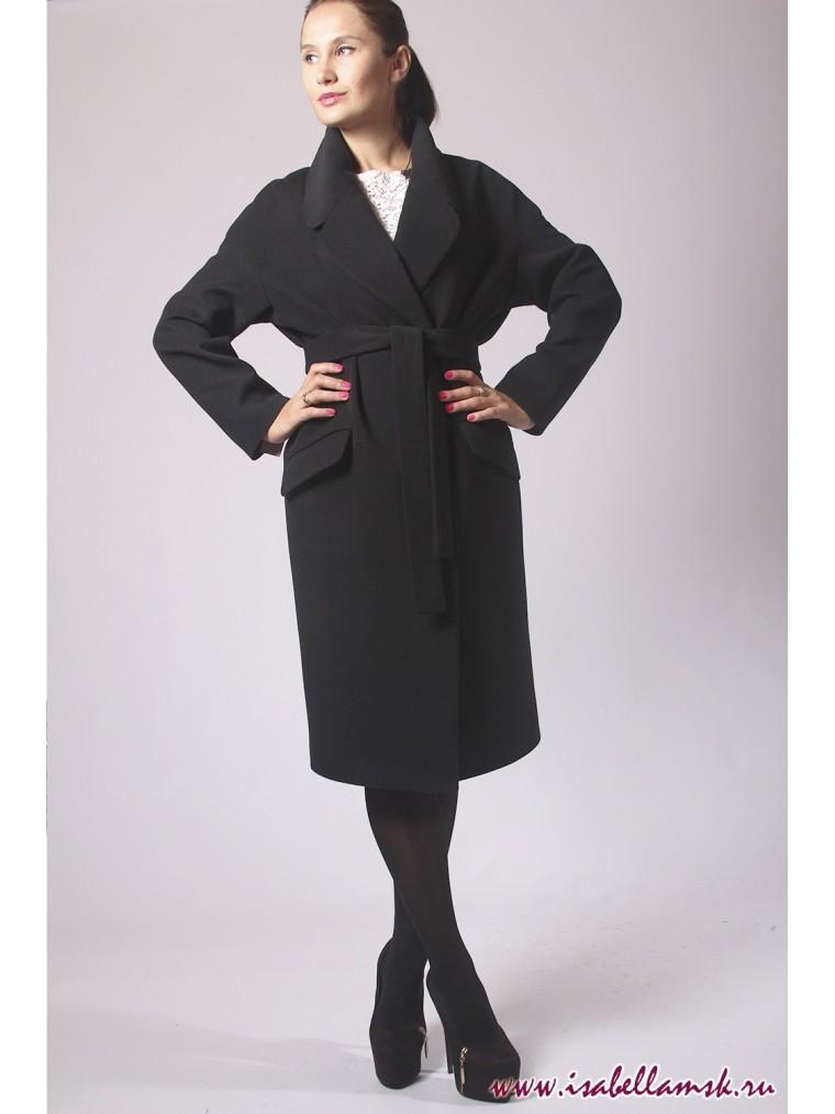 3e8e2e14b35 Купить Чёрное женское пальто в стиле халат в Москве недорого