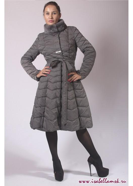 Стёганое пальто на шерстипоне с юбкой