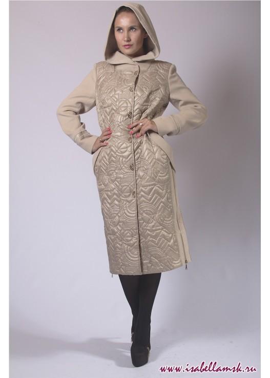 Женское стёганое пальто с капюшоном
