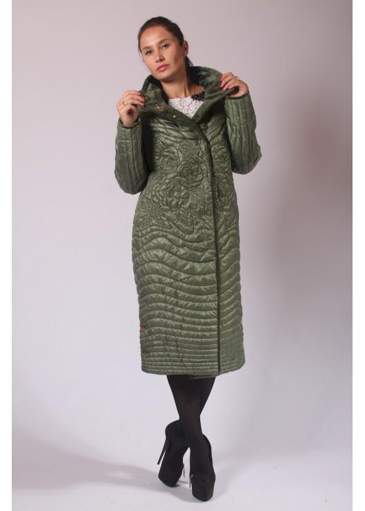 Женское стёганое пальто с вышивкой Зелёный