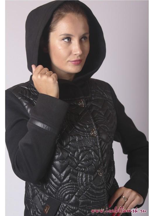 Женское стёганое пальто с капюшоном черное