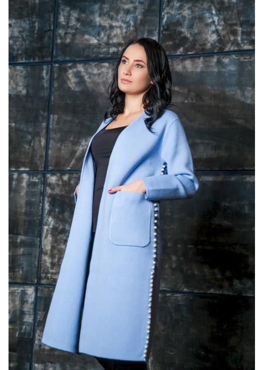 Трикотажное пальто-кардиган с жемчугом