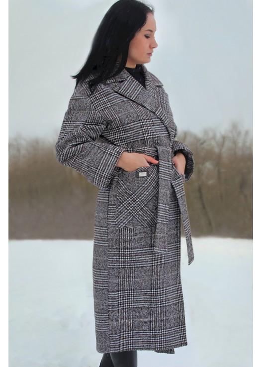 Длинное классическое пальто клетка