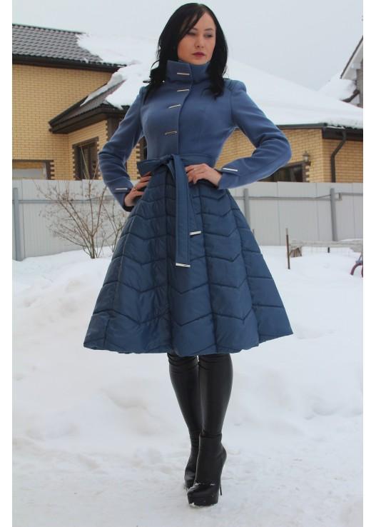 Демисезонное женское пальто с юбкой болонь