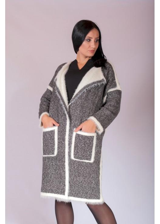 Трикотажное пальто кардиган из шерсти Ангоры