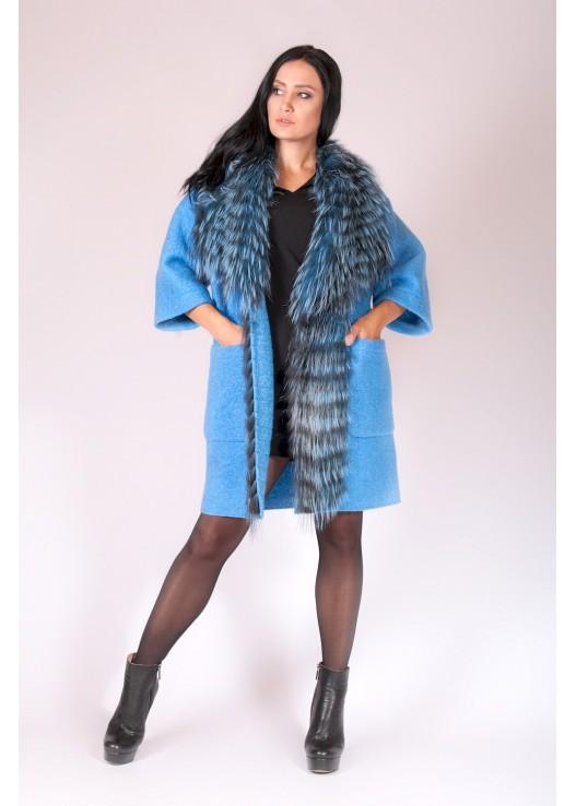 Женское осеннее пальто еврозима с мехом
