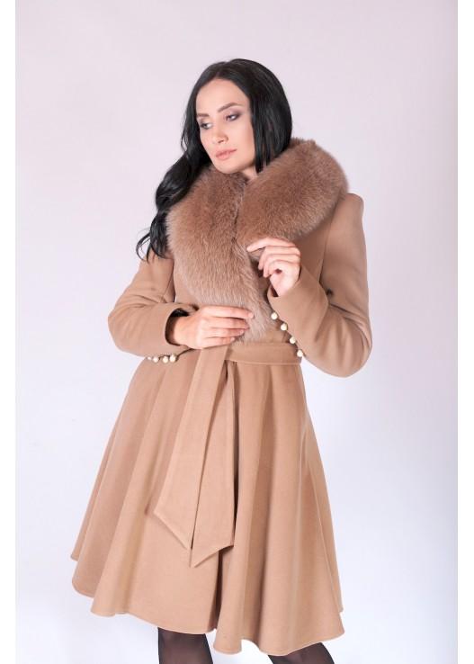 Модное зимнее женское пальто с мехом Зима 2018