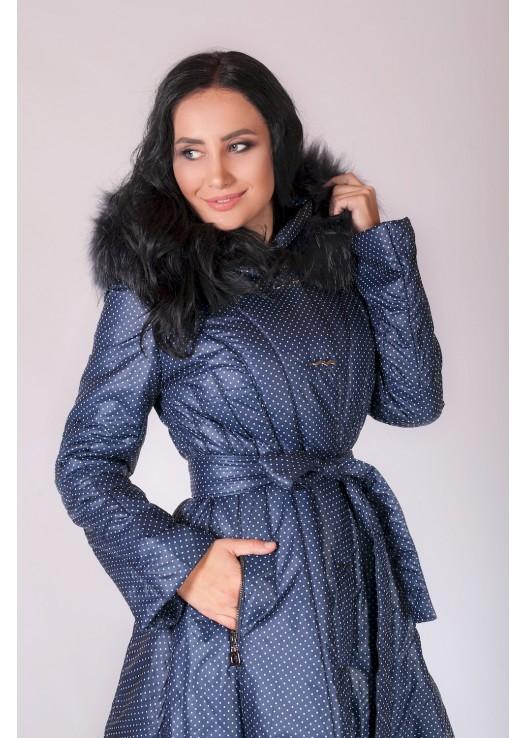 Пальто пуховик с юбкой и капюшоном
