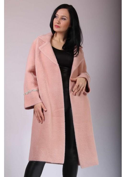 Прямое женское пальто-кардиган из ангоры
