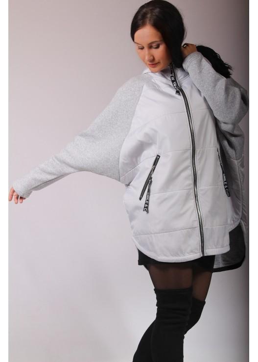 Женская осенняя куртка комбинация трикотаж