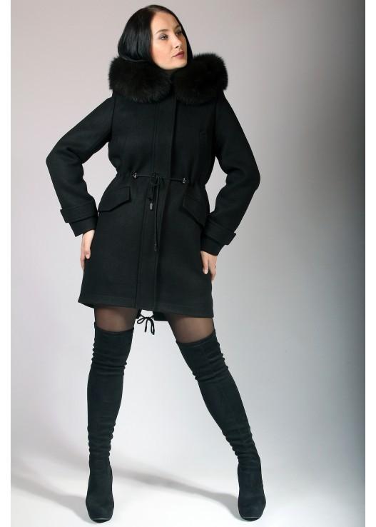 Пальто парка женская зимняя с капюшоном и мехом