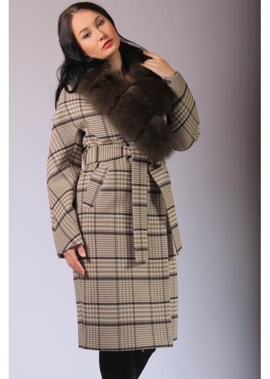 Пальто в клетку женское Зима 2019-2020