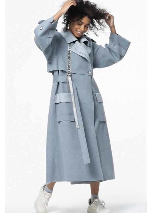 Дизайнерское женское пальто свободного кроя