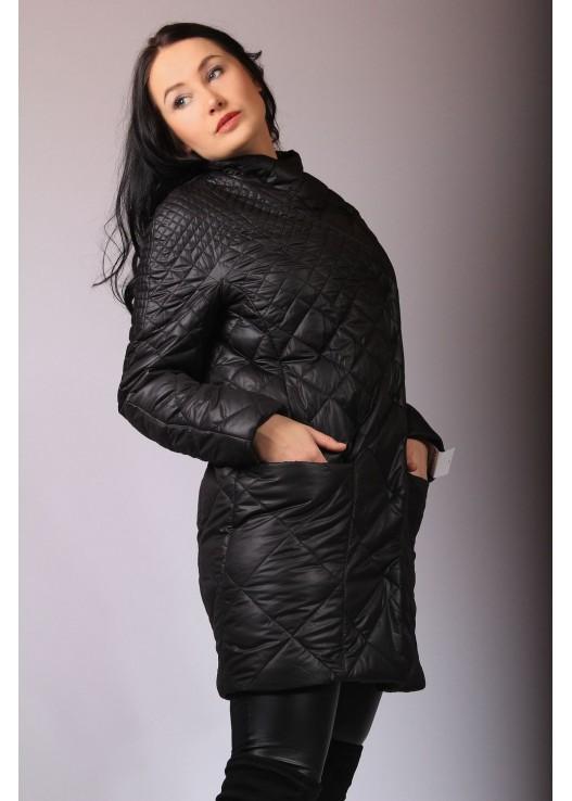 Стёганая женская куртка-пальто