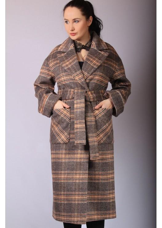 Женское длинное пальто в клетку