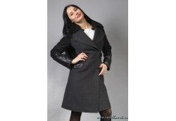 Демисезонное женское пальто с кожей италия