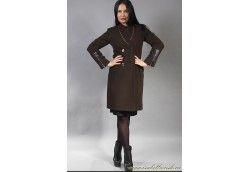 Женское итальянское пальто из кашемира отделаное кожей. №Vip-4060 шоколад